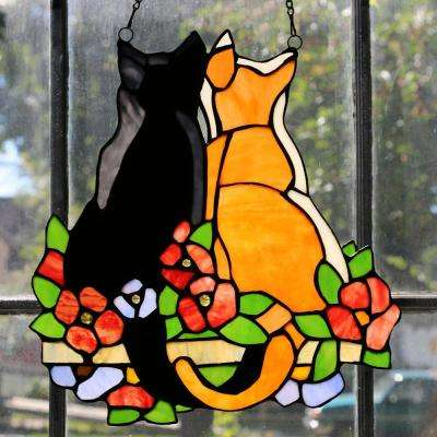 Multi Stained Glass Cats in the Garden Window Panel