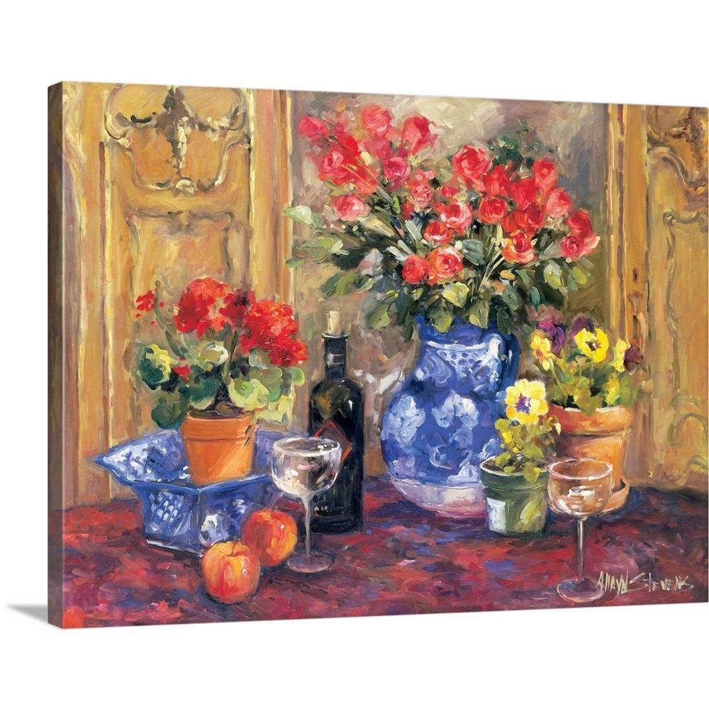 Greatbigcanvas red flowers by allayn stevens canvas wall art