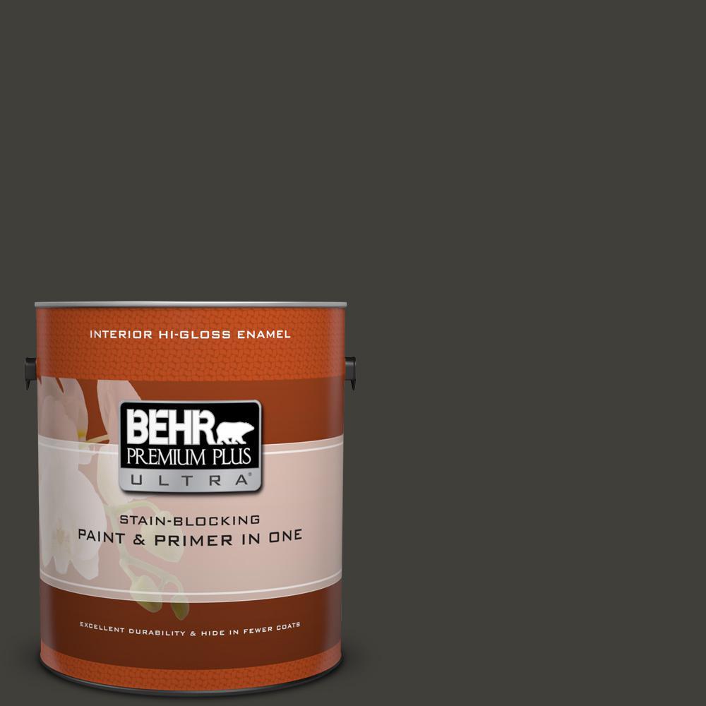 behr premium plus ultra 1 gal. #s-h-790 black suede hi-gloss enamel