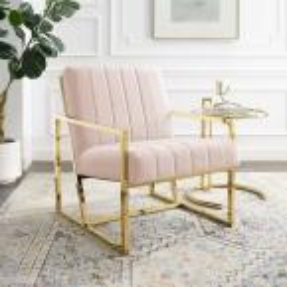 Inspire Pink Channel Tufted Performance Velvet Armchair