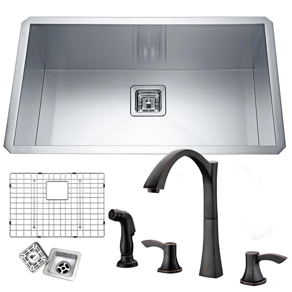 Vanguard Undermount Stainless Steel 32 in. Single Bowl Kitchen Sink in