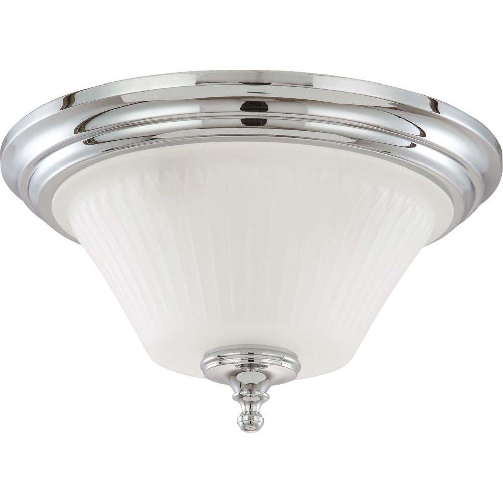 Glomar Lamberta 3-Light Polished Chrome Flush Mount with Frosted Etched Glass