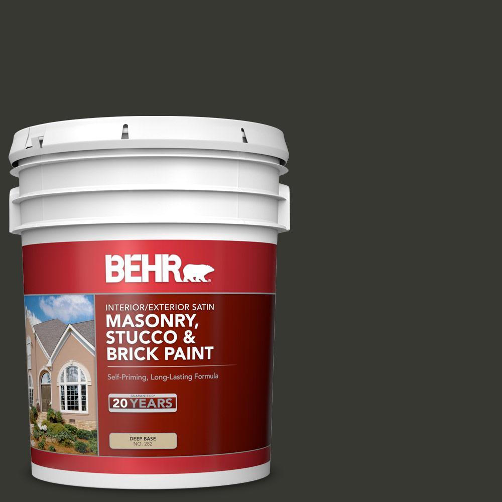 BEHR 5 gal  #T13-3 Black Lacquer Satin Interior/Exterior Masonry, Stucco  and Brick Paint