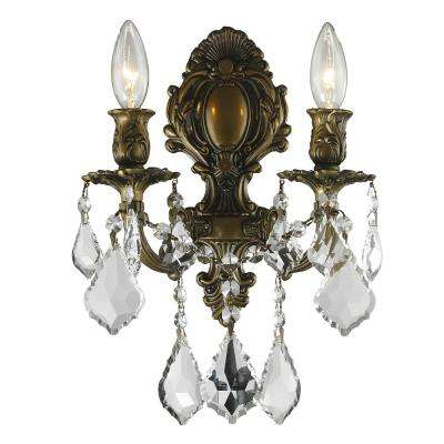 Versailles 2-Light Antique Bronze Sconce with Clear Crystal