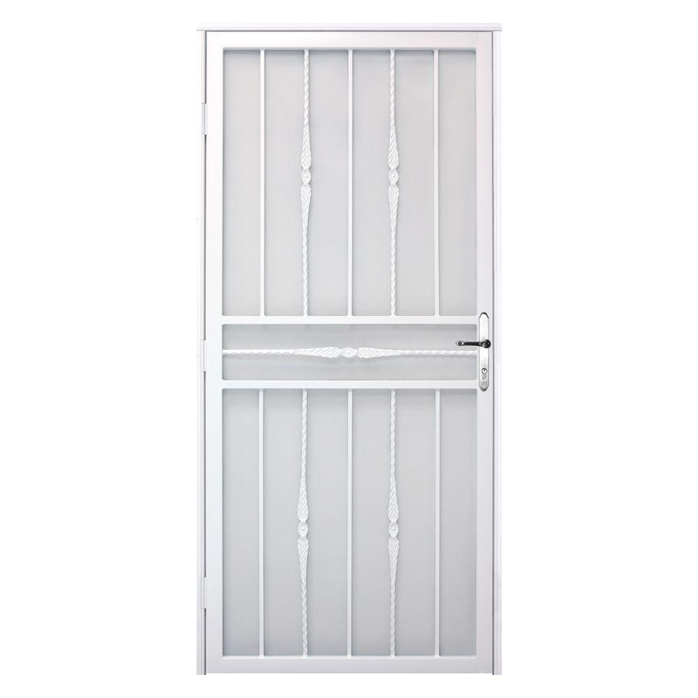Unique Home Designs 36 in. x 80 in. Cottage Rose White Left-Hand Recessed Mount  Door with Expanded Metal Screen and Nickel -DISCONTINUED