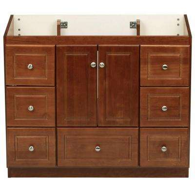 Ultraline 42 in. W x 21 in. D x 34.5 in. H Vanity Cabinet Only in Medium Alder
