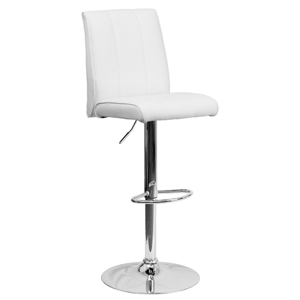 33.50 in. Adjustable Height White Cushioned Bar Stool