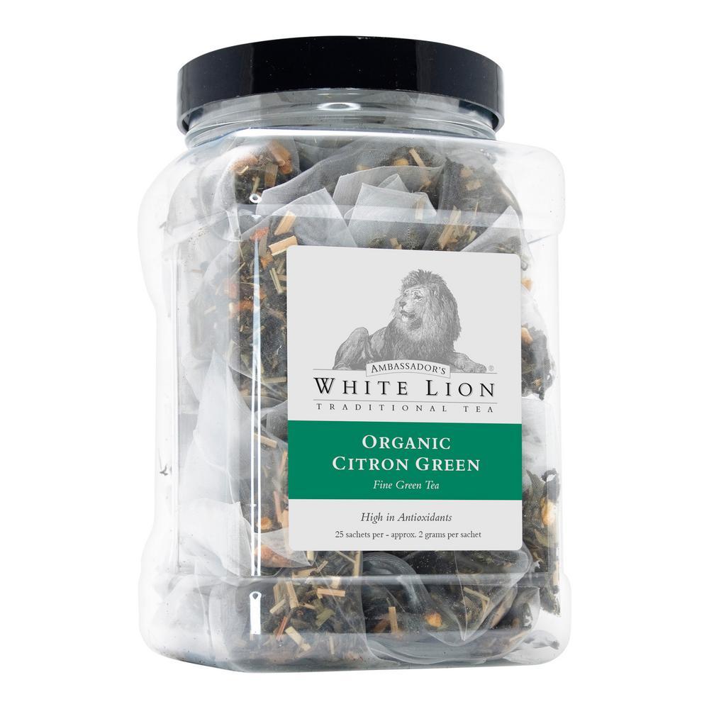 Tea Organic Citron Green Bulk 25 Sachets Retail Canister Tea Bags Sachets (25 per Pack)