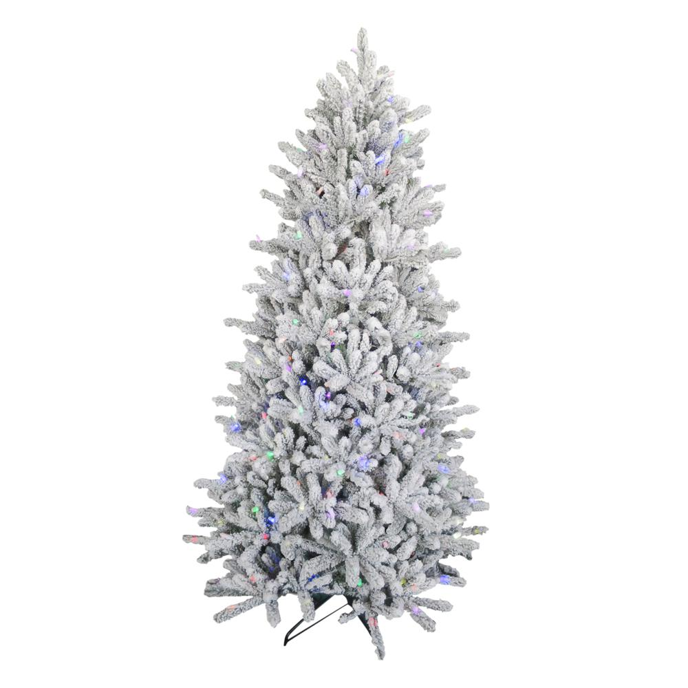 sneakers for cheap 30294 0cfba Home Accents Holiday 6.5 ft. Pre-Lit Led Flocked Balsam WRGB Artificial  Christmas Tree
