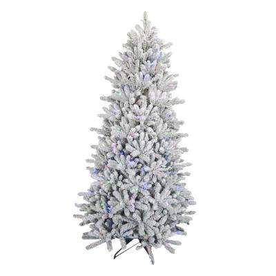 6.5 ft. Pre-Lit Led Flocked Balsam WRGB Artificial Christmas Tree