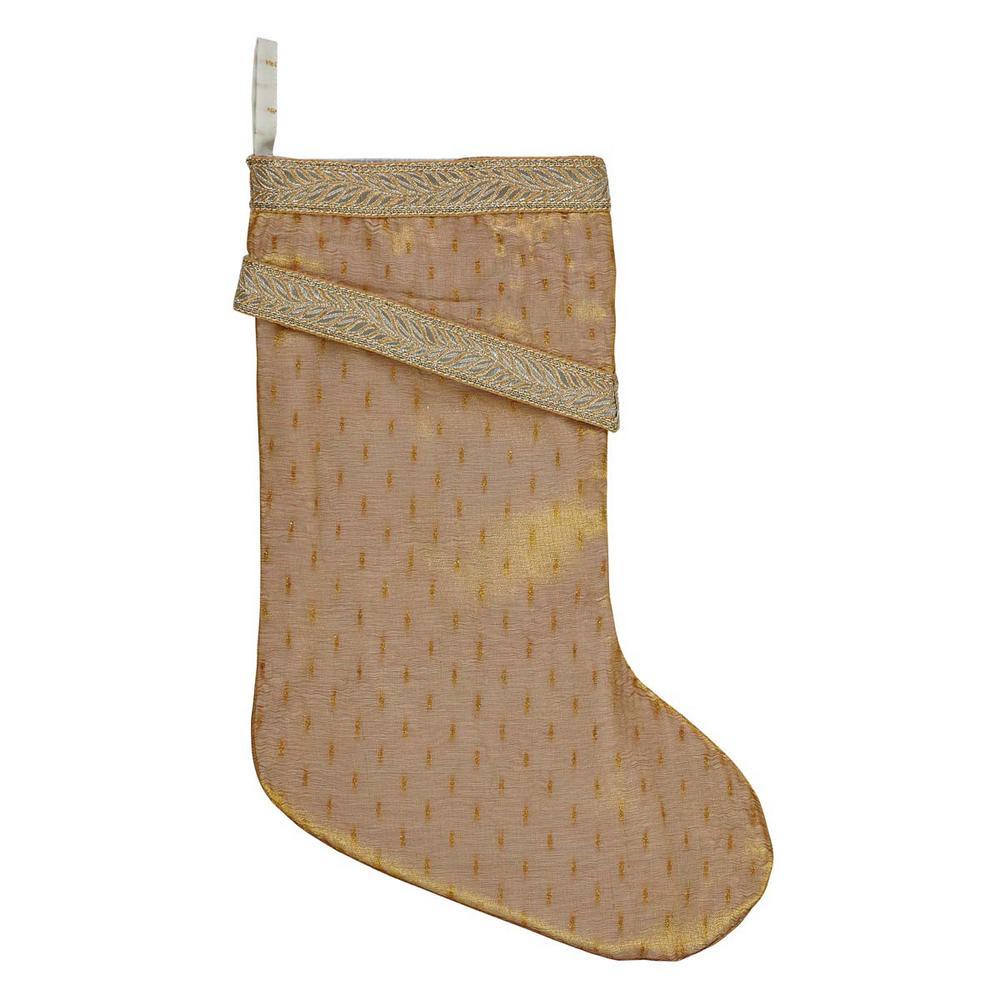 15 in. Cotton/Nylon Tinsel Gold Yellow Glam Christmas Decor Stocking