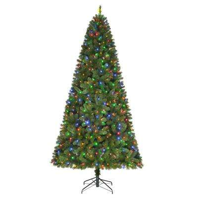 9 ft. Pre-Lit LED Wesley Spruce Artificial Christmas Tree with 650 SureBright Color Changing Lights