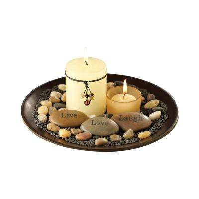 Sentiments 4 in. x 9 in. Round Espresso Wood And Glass Garden Candle Holder