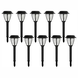 Solar Black Outdoor Integrated LED 3000K Warm White Landscape Path Light with Ribbed Lens (10-Pack)