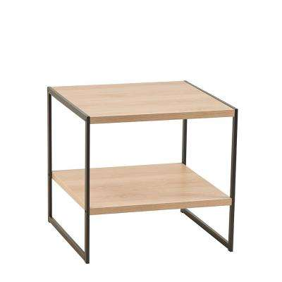 18.9 in W x 18.8 in. D Natural End Table with Decorative Shelf