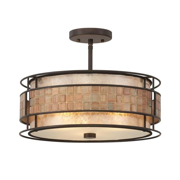 Laguna 3-Light Renaissance Copper Semi-Flush Mount