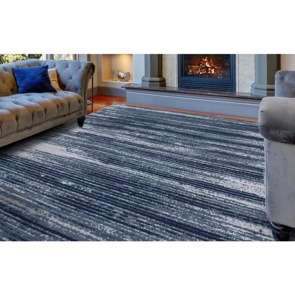 Diagona Designs Jasmin Collection Stripes Design Teal And Navy 7 Ft 8 In X 9 Ft 8 In Area Rug Jas2046 8x10 The Home Depot