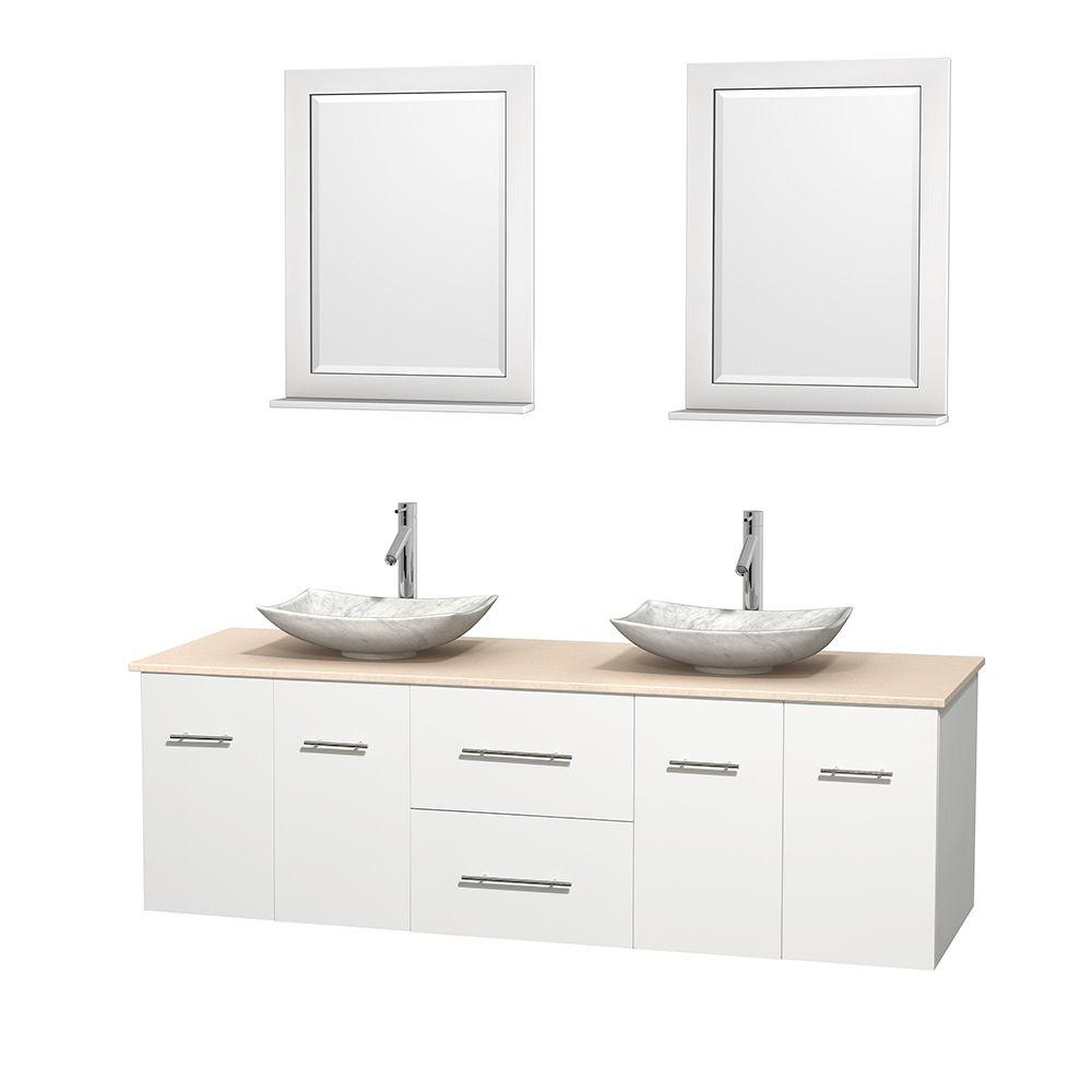 Wyndham Collection Centra 72 in. Double Vanity in White with Marble Vanity Top in Ivory, Carrara White Marble Sinks and 24 in. Mirrors