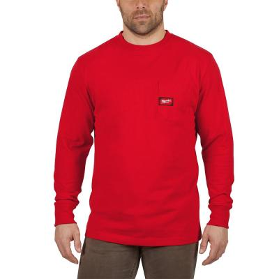 Men's 2X-Large Red Heavy Duty Cotton/Polyester Long-Sleeve Pocket T-Shirt