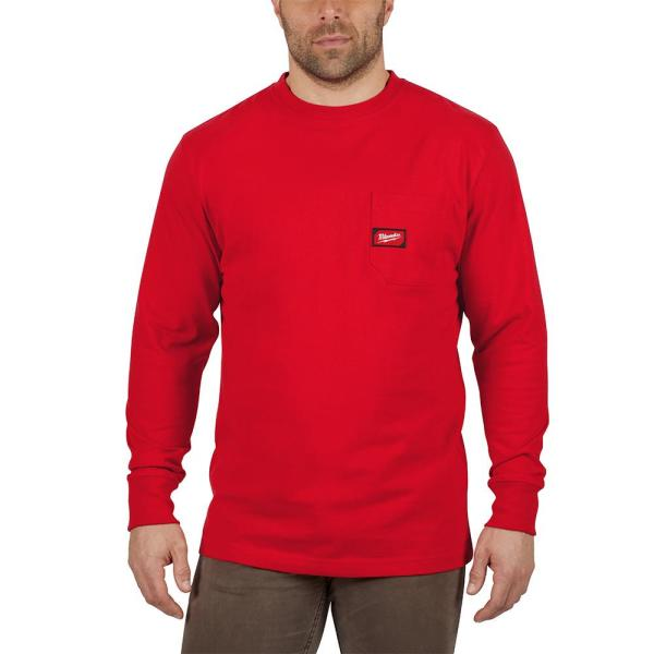 Men's Large Red Heavy Duty Cotton/Polyester Long-Sleeve Pocket T-Shirt