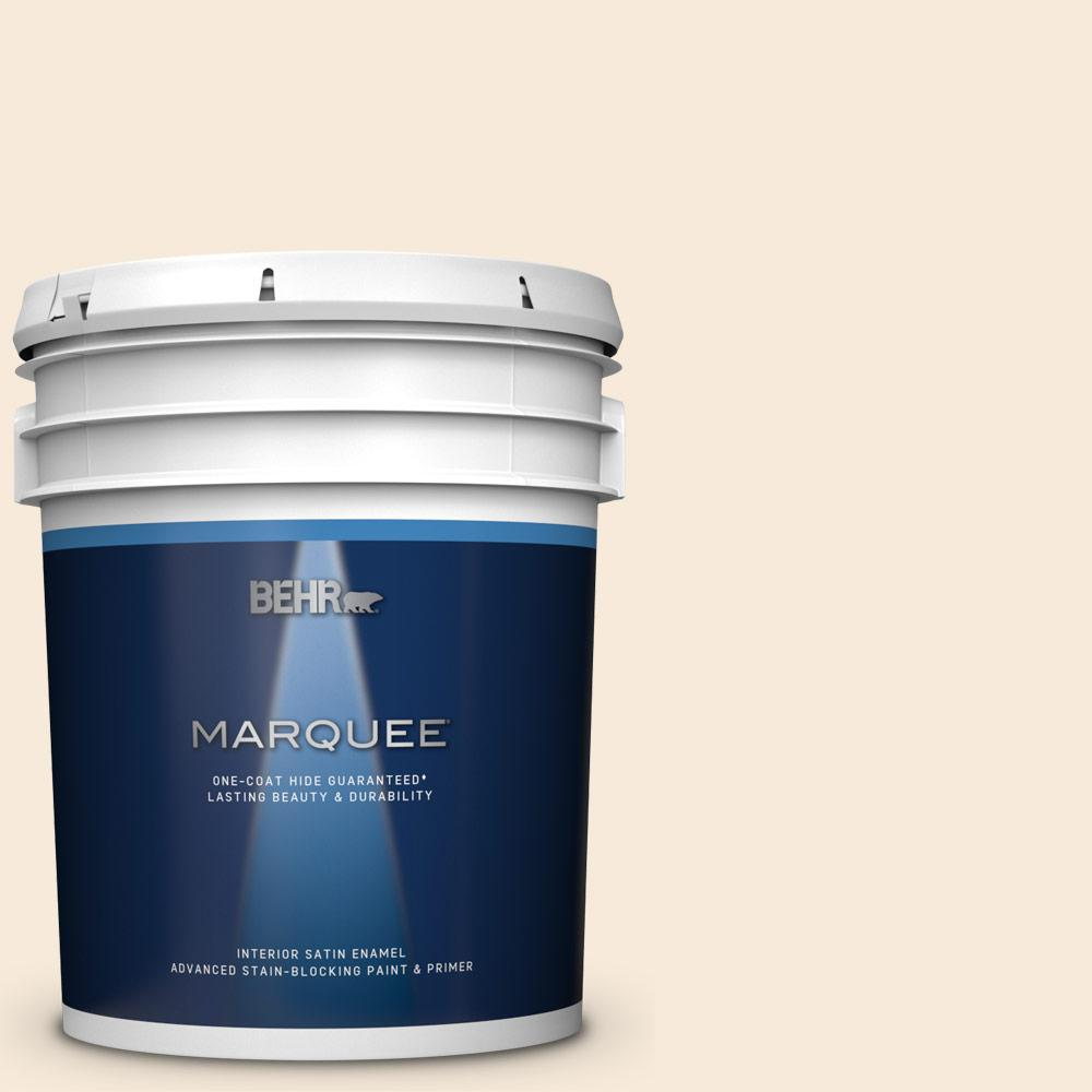 Behr Marquee 5 Gal Yl W04 Linen White Satin Enamel Interior Paint And Primer In One