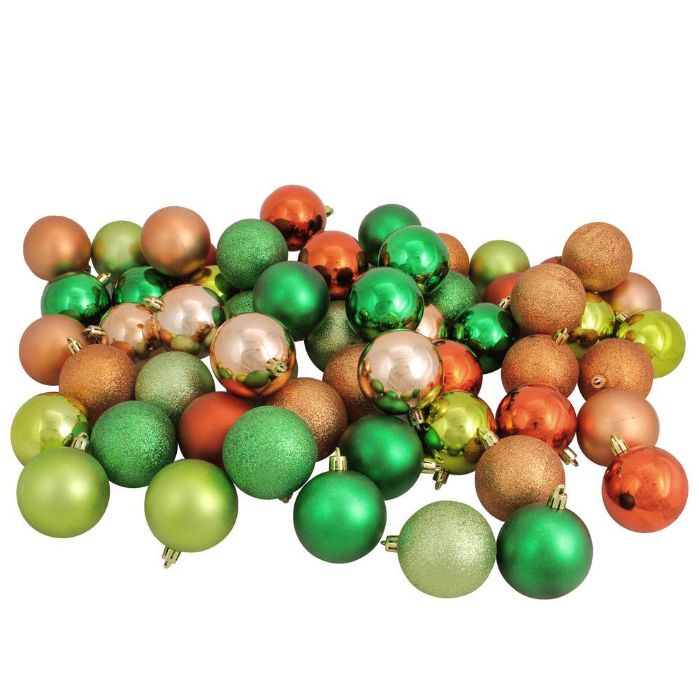 Northlight 2.5 in. Almond/Kiwi/Burnt Orange/Xmas Green Shatterproof 3-Finish Christmas Ball Ornaments (60-Count)