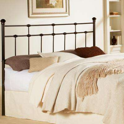 Dexter California King-Size Metal Headboard with Decorative Castings and Globe Finials in Hammered Brown