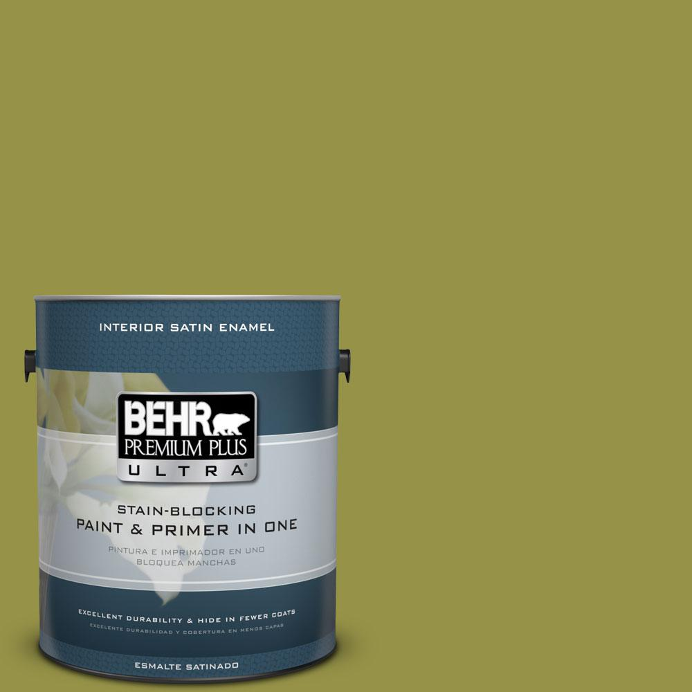 BEHR Premium Plus Ultra Home Decorators Collection 1-gal. #HDC-FL13-8 Tangy Dill Satin Enamel Interior Paint