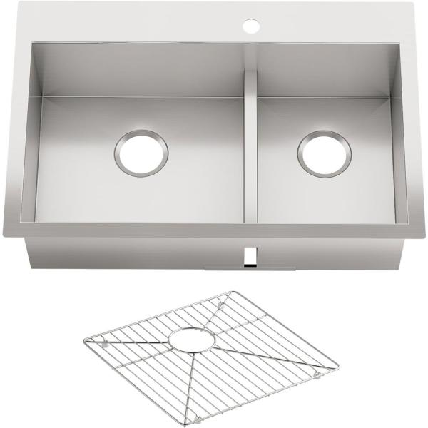 Vault Smart Divide Dual Mount Stainless Steel 33 in. 1-Hole Offset Double Bowl Kitchen Sink Kit with Basin Rack
