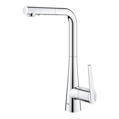 LadyLux L2 Single-Handle Pull-Out Sprayer Kitchen Faucet with Single Hole in StarLight Chrome