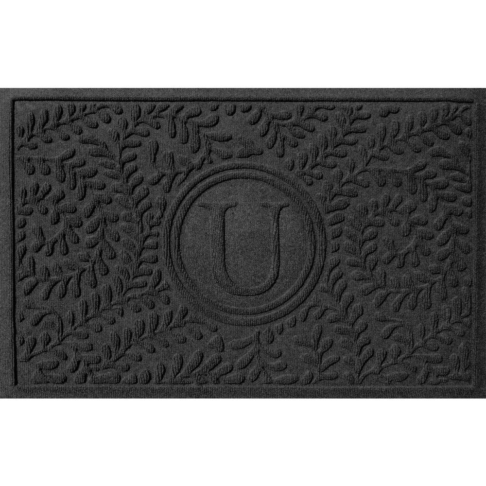 Bungalow Flooring Boxwood Charcoal 24 In. X 36 In. Monogram U Door Mat 2.0384470023E10    The Home Depot