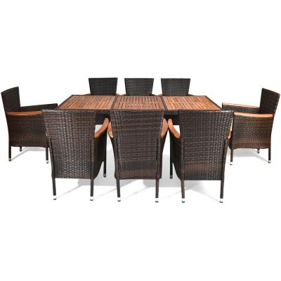 9-Piece Wood Rectangle Outdoor Dining Set with Beige Cushions