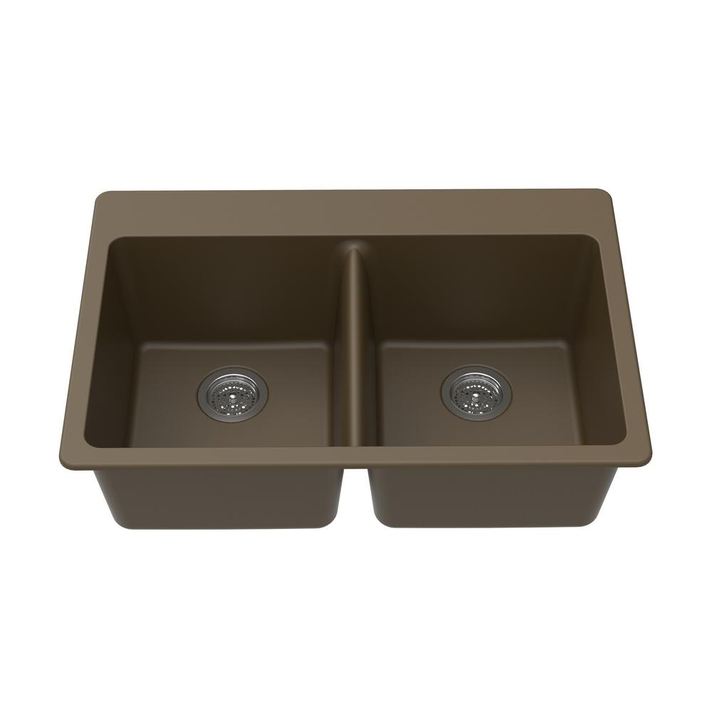Winpro Dual Mount Granite Composite 33 in. L x 22 in. L x 9.5 in. 0-5 Faucet Holes Double Equal Bowl Kitchen Sink in Mocha