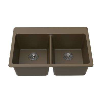 Dual Mount Granite Composite 33 in. L x 22 in. L x 9.5 in. 0-5 Faucet Holes Double Equal Bowl Kitchen Sink in Mocha