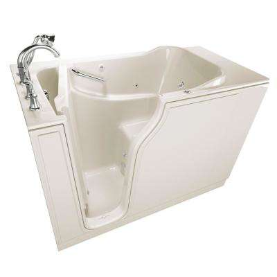 Gelcoat Value Series 52 in. Left Hand Walk-In Whirlpool Bathtub in Linen