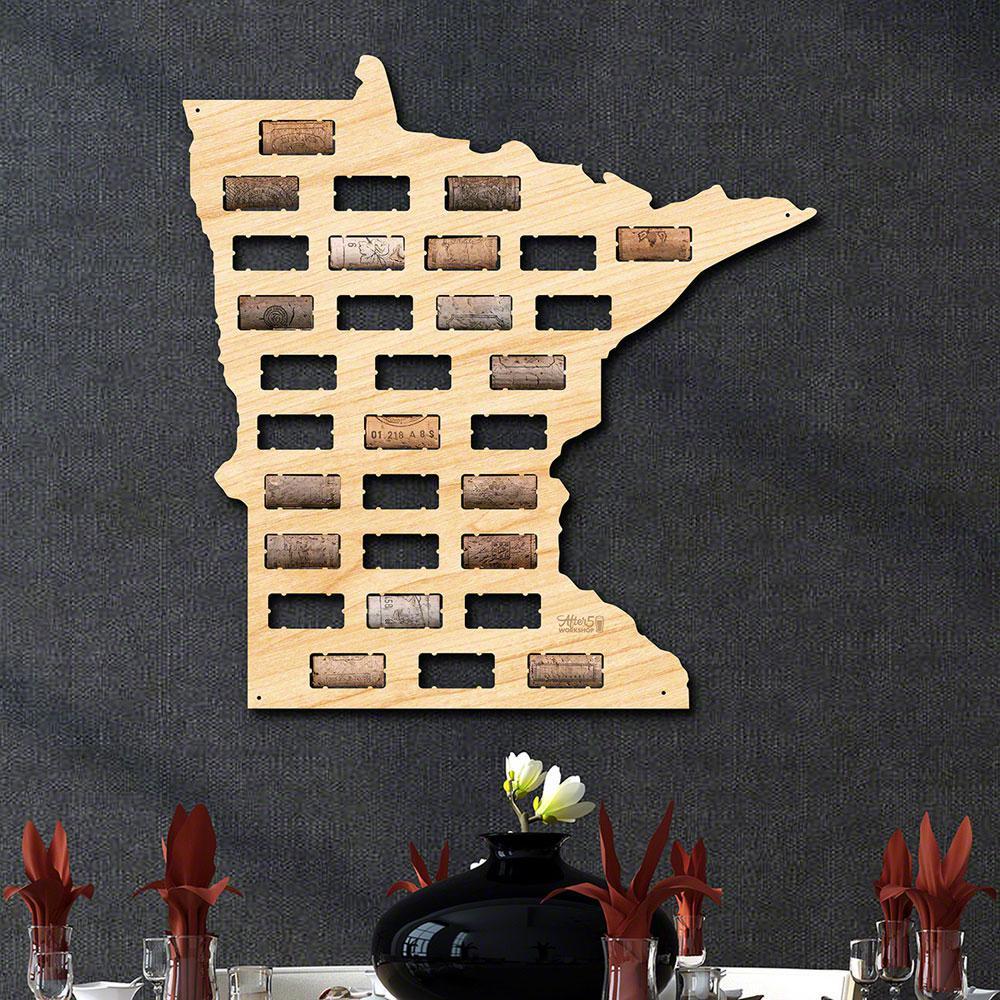 16 in. x 16.5 in. Minnesota Wine Cork Map