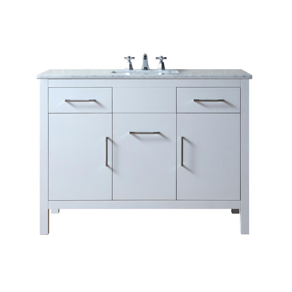 stufurhome Atreus 48 in. Vanity in White with Marble Vanity Top in Carrara White with White Undermount Sink