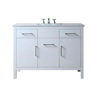 Atreus 48 in. Vanity in White with Marble Vanity Top in Carrara White with White Undermount Sink