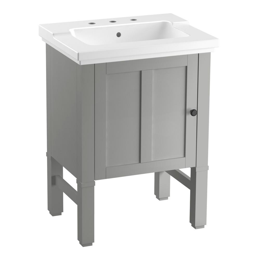 Kohler Chambly 24 In W Vanity In Mohair Grey With Ceramic Vanity Top In White With White Basin K R20195 1wt The Home Depot