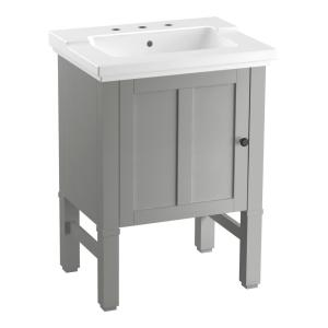 chambly 24 in w vanity in mohair grey with ceramic vanity top in white with