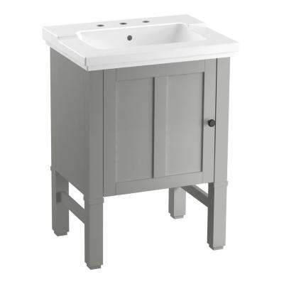 Chambly 24 in. W Vanity in Mohair Grey with Ceramic Vanity Top in White with White Basin