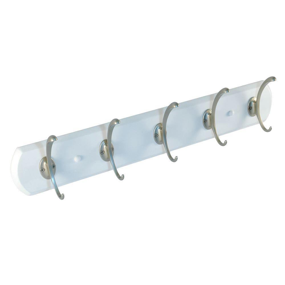 Nystrom 21 in. Hook Rack White Board with 5 Pewter C Hooks