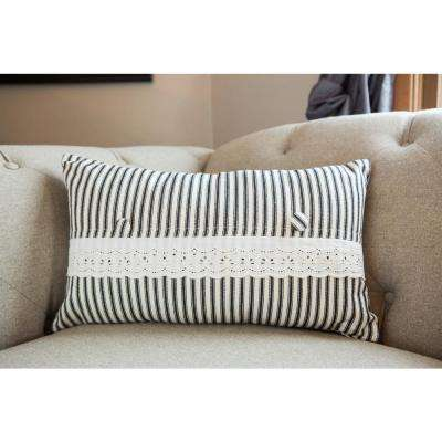 Vintage Garden Black/Cream Ticking Decorative Pillow