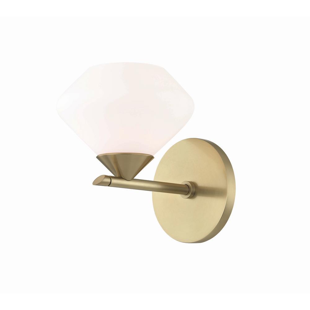 Valerie 1-Light Aged Brass Bath Light with Opal Matte Glass Shade