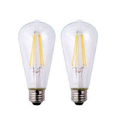 40-Watt Equivalent ST19 Dimmable Clear Filament Vintage Style LED Light Bulb Soft White (2-Pack)