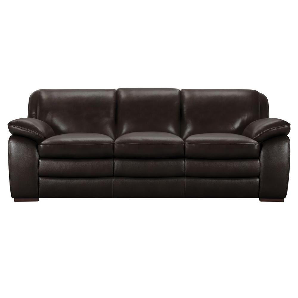 Armen Living Genuine Dark Brown Leather Contemporary Sofa with Brown Wood