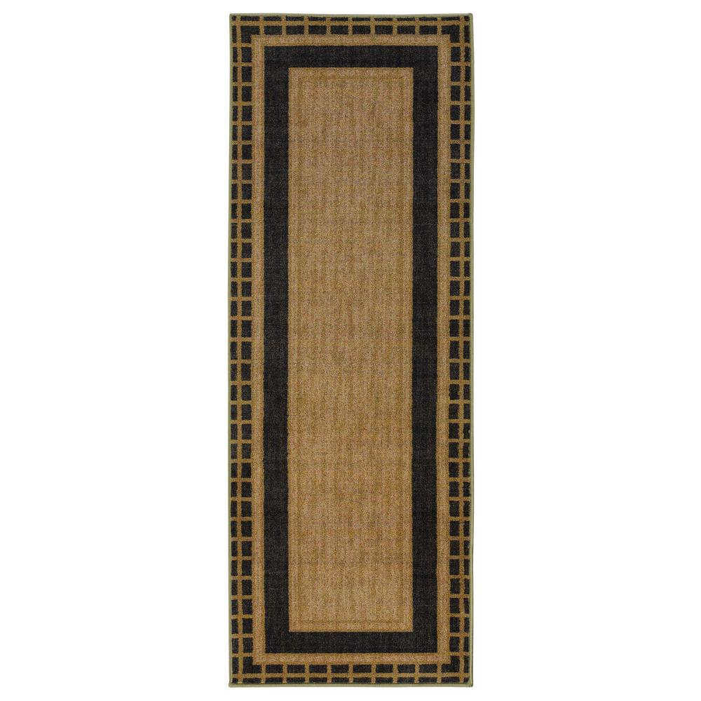 Authentic Collection Contemporary Bordered Design Brown 1 ft. 8 in. x