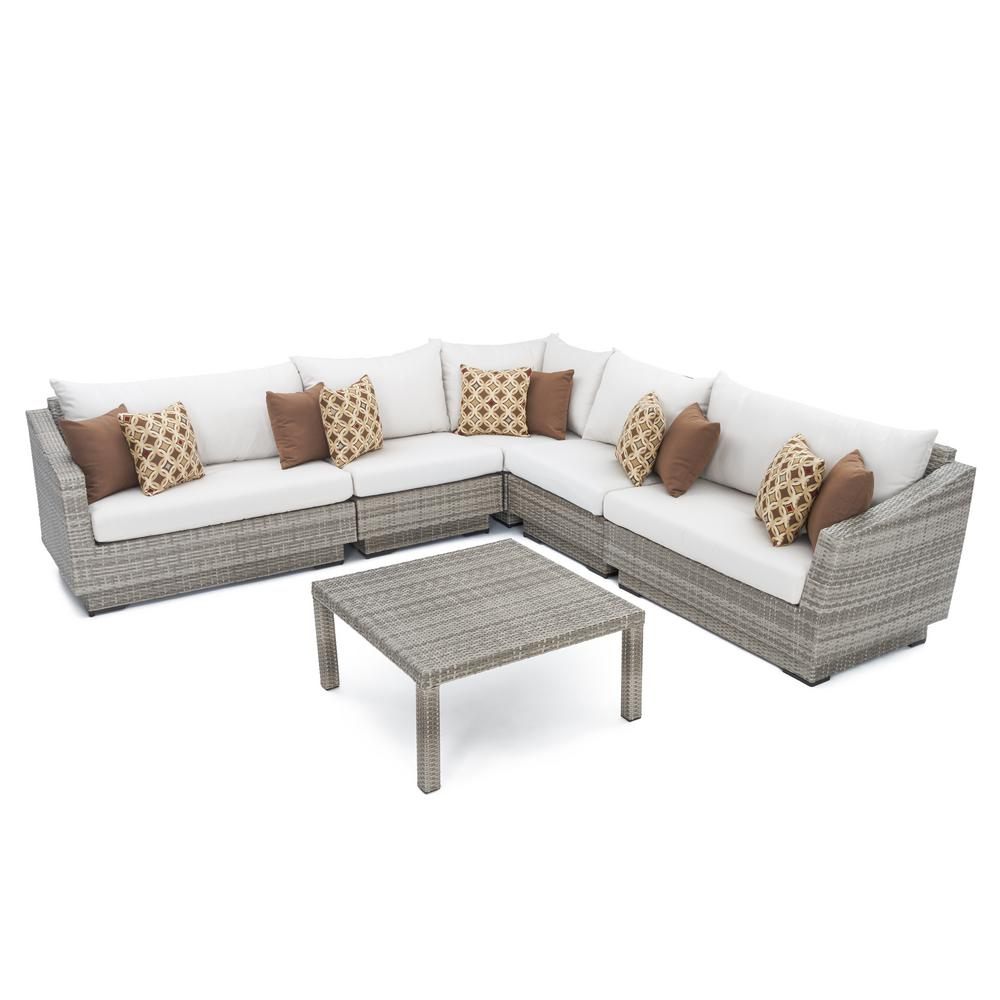 Rst Brands Cannes 6 Piece Patio Corner Sectional Set With Moroccan Cream Cushions