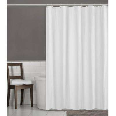 Herringbone 70 in. W x 72 in. L Ultimate Waterproof Fabric Shower Curtain or Liner in White