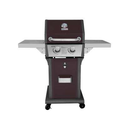 Deluxe 2-Burner Patio Propane Gas Grill in Dark Brown with Folding Side Tables